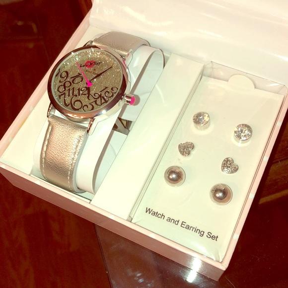 Betsey Johnson Accessories - Bling Bling Watch & Earrings